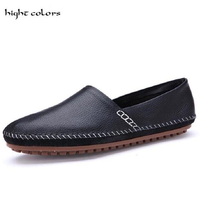 Mocasines hechos a mano, moda calzado hombres planos deslizamiento barco.
