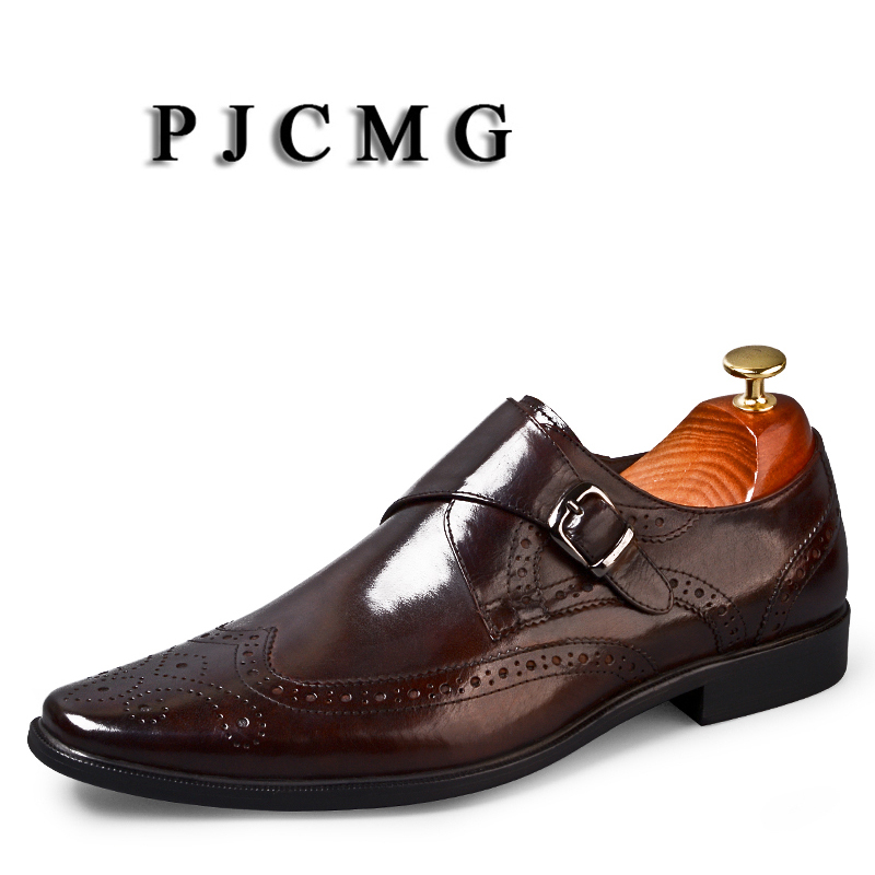 PJCMG Brand luxury Genuine Leather Men Black/Red Slip-On Carved Solid Pointed Toe Business Moccasins Dress Wedding Office ShoesPJCMG Brand luxury Genuine Leather Men Black/Red Slip-On Carved Solid Pointed Toe Business Moccasins Dress Wedding Office Shoes