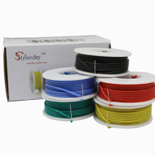 Striveda 22 24 26 AWG Flexible Silicone Soild wire Kit box Electric wire 22 gauge Hook Up Wire 300V Cable (19.6ft Each Color)