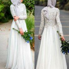 Elegante Wulstige Spitze appliques abendkleid bodenlangen chiffon formale kleid Muslimischen long sleeves abendkleid robe de soiree