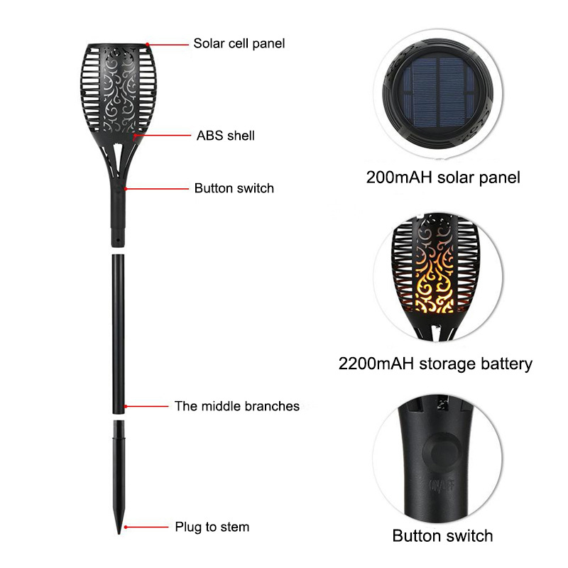 Image 5 - Solar Torch Light 96 leds Waterproof Solar Power LED Flame Light Outdoor Landscape Decoration Garden Lamp-in Solar Lamps from Lights & Lighting