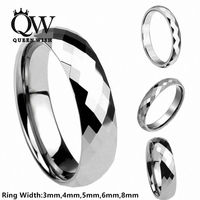 Queenwish 4mm Tungsten Carbide Wedding Engagement Bridal Band Multi Faceted Prism Cut Ring Comfort Fit Promise