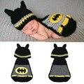 1 sets varejo Batman Designs Crochet Da Foto Do Bebê Adereços Fotografia de Malha Animais Chapéus Costume Foto Props Outfits transporte da gota