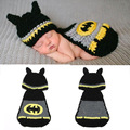 Retail 1sets Batman Designs Crochet Baby Photo Photography Props Knitted Animal Hats Costume Photo Props Outfits Drop shipping