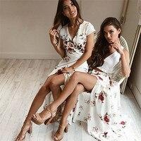 새로운 스타일의 여성 보헤미안 긴 드레스 여성 V 넥 꽃 캐주얼 비치 드레스 화이트 섹시 패션 핫 판매 드레스 Wolovey #15