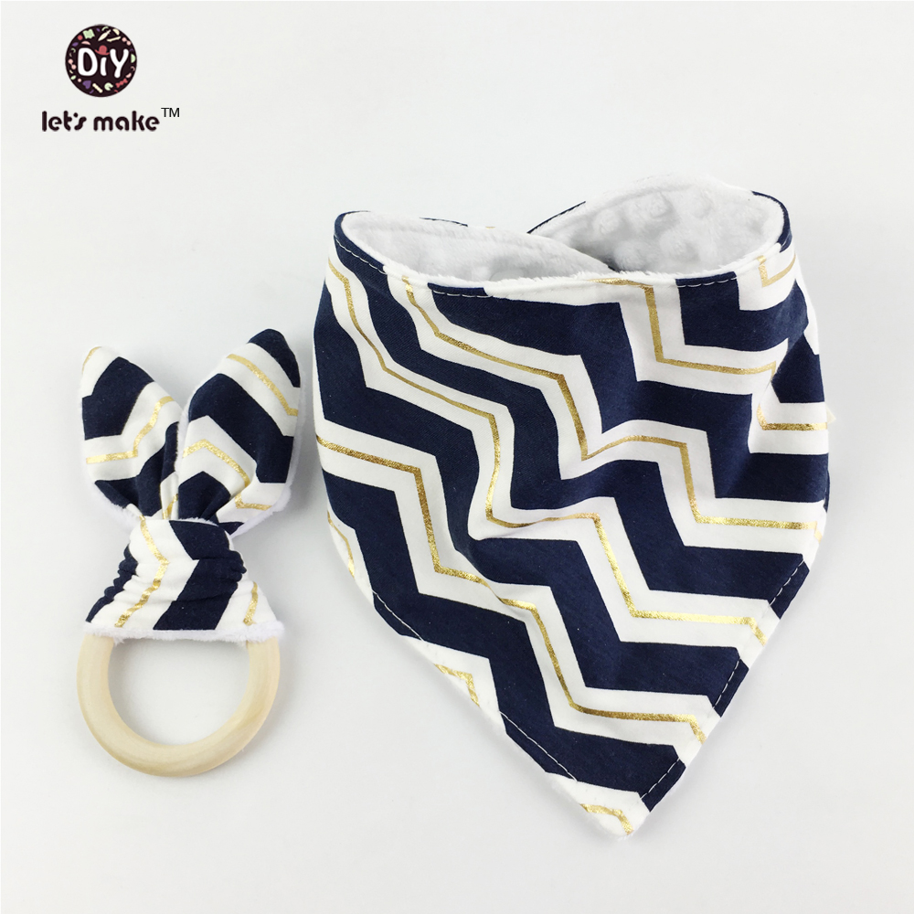 Let's make Bunny Ear Teether&Bib Drool Dark Blue Gold Navy Stripe Grey Nursing Toys set of 4pc/2set Eco-friendly Baby Montessori