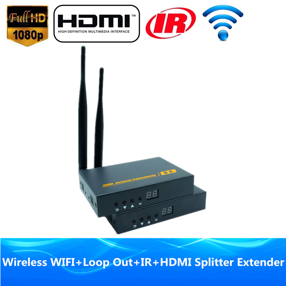 196ft Wireless Video Audio Transmission WIFI HDMI Extender 60m With IR 1080P Wireless HDMI Transmitter font