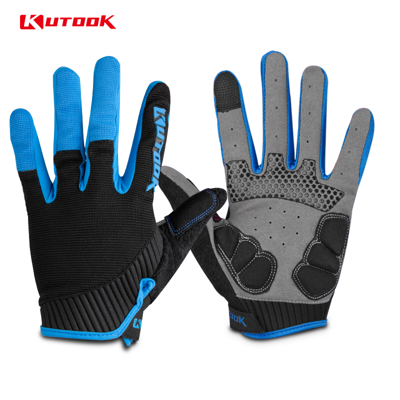 KUTOOK Winter Cycling Gloves Full Finger Bike Bicycle MTB Gloves Touch Screen Lycra Mittens 2 Colors