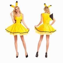 Хэллоуин Пикачу женщины производительность костюм Pokemon Косплей Костюм партии Cosplay Одежда Ангел