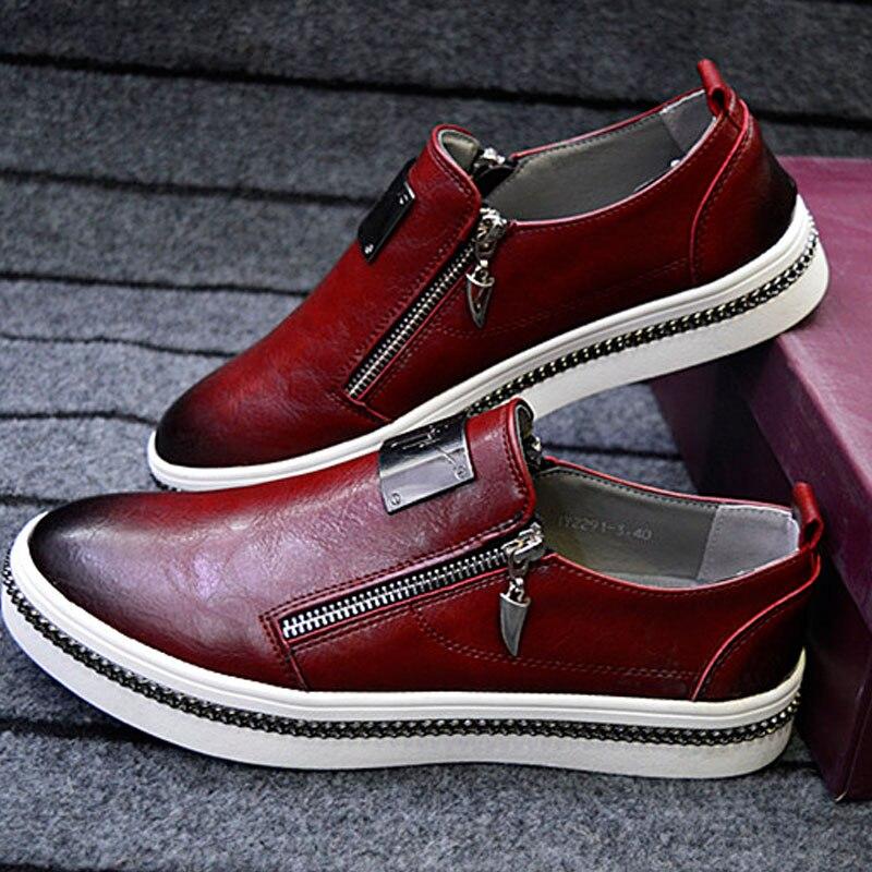 2016 Fashion Mens Casual Shoes Genuine Leather Men Loafers Moccasins Slip On Men'S Flats Male Shoes Black Red Sliver 4 Colors casual shoes 2016 fashion genuine leather loafers moccasins slip on flats shoes black golden sliver 3 colors