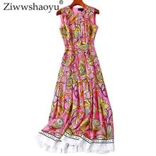 Ziwwshaoyu Fashion Print Big pendulum dresses O-Neck Draped elegant Slim dress Spring and summer new women