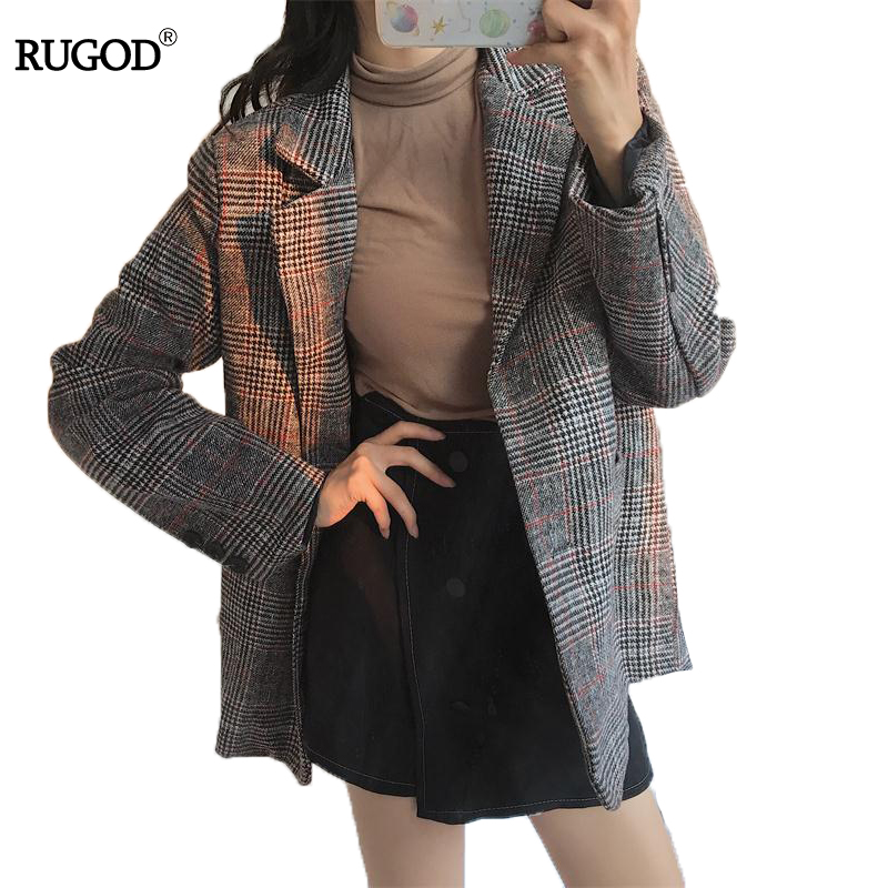 RUGOD Fashion Autumn Winter Women Blazers And Jackets Vintage Long Sleeve Plaid Female Blazer Pockets Button Feminino