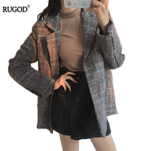 RUGOD Fashion Autumn Winter Women Blazers And Jackets Vintage Long Sleeve Plaid Female Blazer Pockets Button Feminino