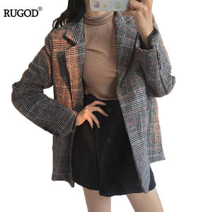 RUGOD Women Blazers And Jackets Long Sleeve Plaid Female