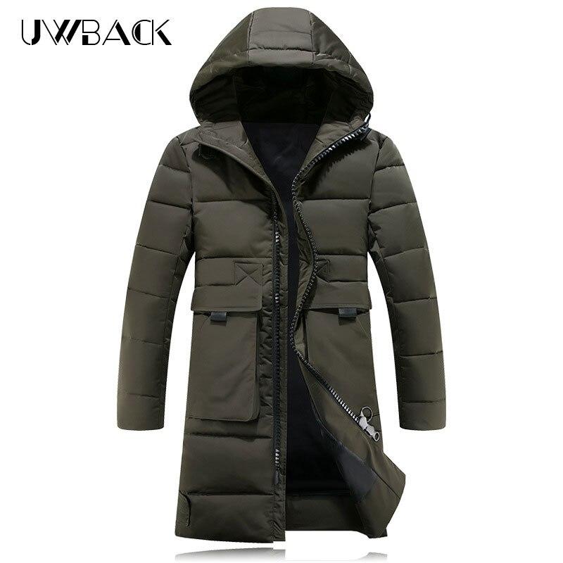 Uwback 2018 Marque D'hiver Vestes Hommes Grandes Poches X-Long Parkas Homme Coupe-Vent Épais Chaud Manteaux D'affaires Outwear Manteau XA667