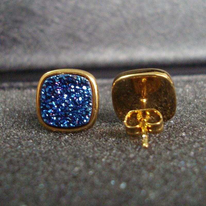 Brazil Hot Design Female Druzy Bijoux Gold Plated Round Blue Quart Natural Agate Druzy Earrings Fashion Stud Earrings for Women-3