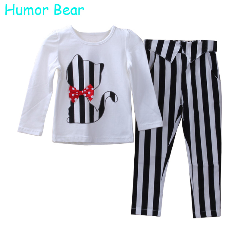 Humor Bear Children Autumn Baby Girls Clothes Cartoon Fashion Cute Cat Long Sleeved Pant Suit Girls