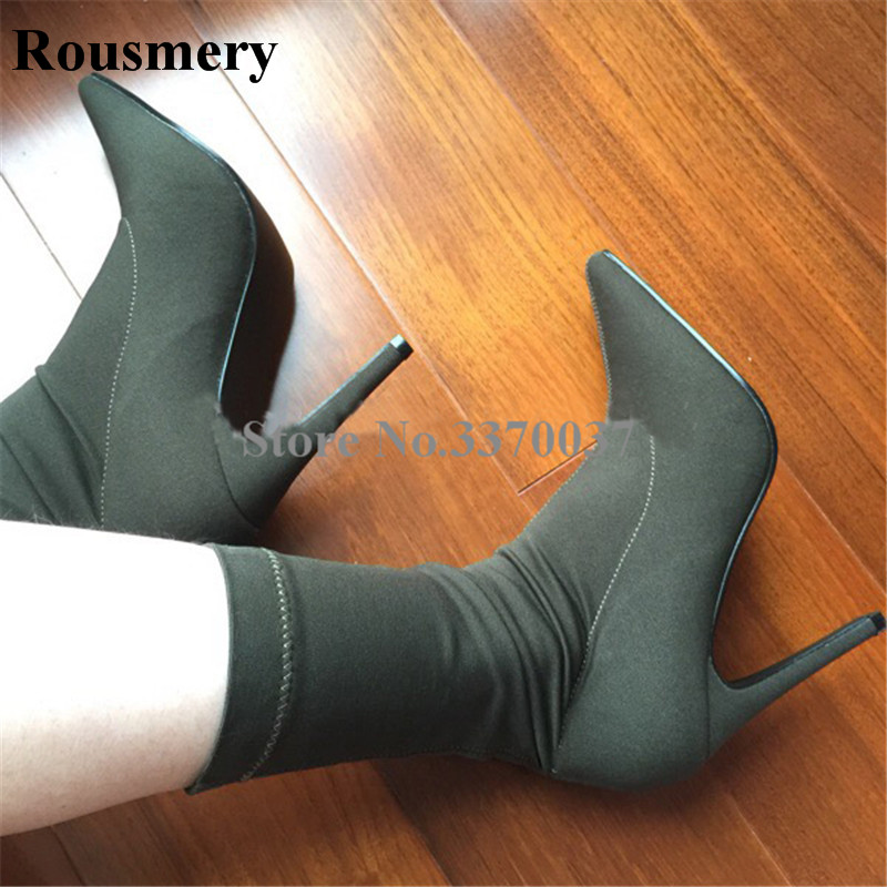 Women New Fashion Pointed Toe Elastic Mix-calf High Heel Boots Sexy Bandage Thin Heel Short Boots Dress Shoes Free Shipping купить недорого в Москве
