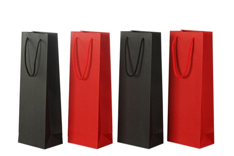 12pcs 35x17x8cm 종이 와인 가방 레드 블랙 크래프트 용지 핫 스탬핑 로고 패키지 올리버 오일 샴페인 병 캐리어 로고 인쇄