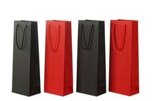 12pcs 35x17x8cm Paper Wine Bags Red Black Kraft Paper Hot-stamping logo Package Oliver Oil Champagne Bottle Carrier Logo Print