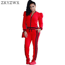 a76f80c34fd ZKYZWX S-3XL Two 2 Piece Set Women Autumn Winter Zip Jacket Top+Side  Striped Pants Track Suits Outfit Plus Size Casual Tracksuit