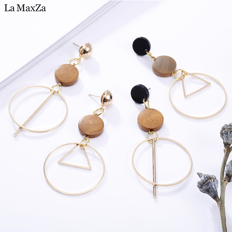 Wooden Earrings Natural Wood Earring For Women Geometric Statement Exaggerated Long Stud Earrings Girls Fashion Jewelry 2018
