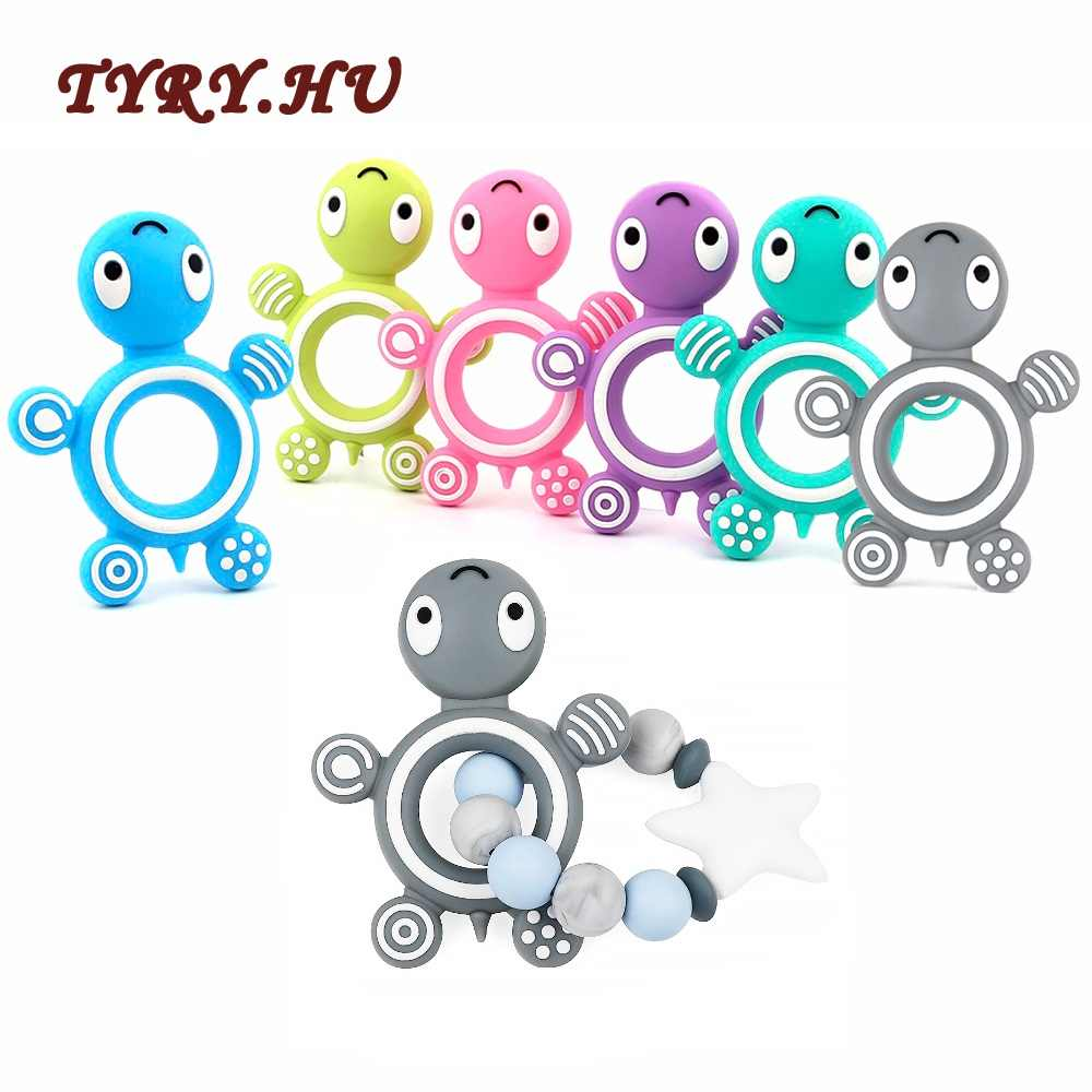 TYRY.HU 1pc Silicone Teether Turtle Silicone Bracelet Necklace Pendant BPA Free Baby Teething Nursing Toy Pacifier Chain Gift