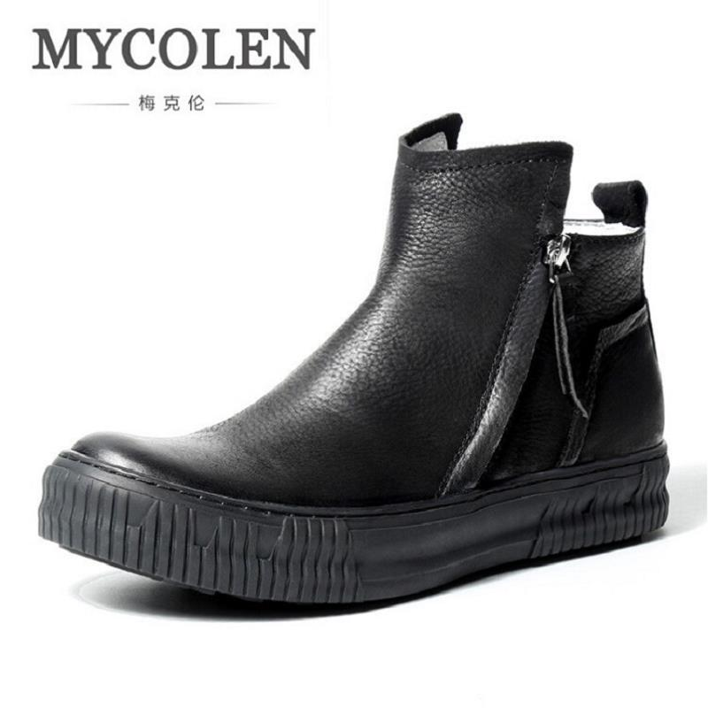 MYCOLEN Mens Chelsea Boots Genuine Leather Black Shoes Autumn Winter Boots Men Shoes European style Zipper Martin Boots sapato цены онлайн