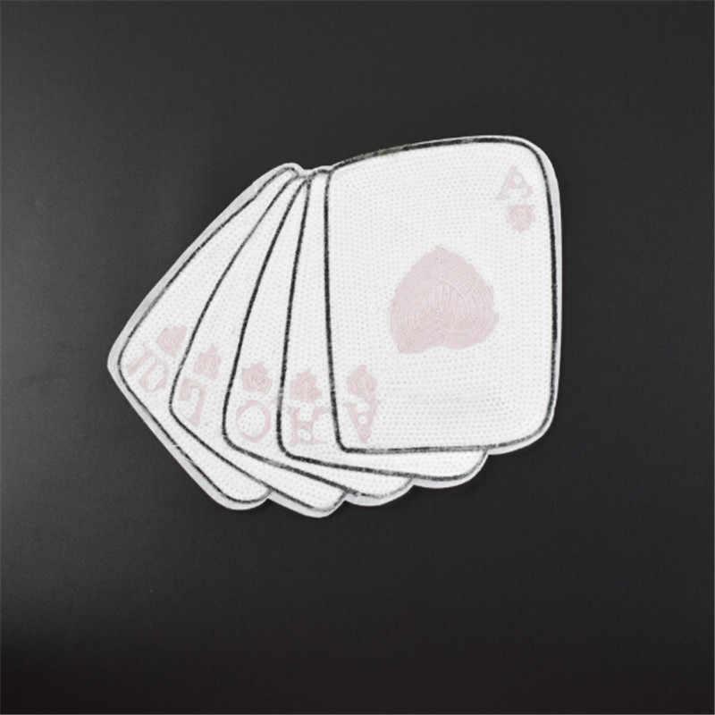 服女性シャツトップ Diy フラワーパッチトランプカードスパンコールそれに対処 Tシャツ女の子鉄ためのパッチ服ステッカー