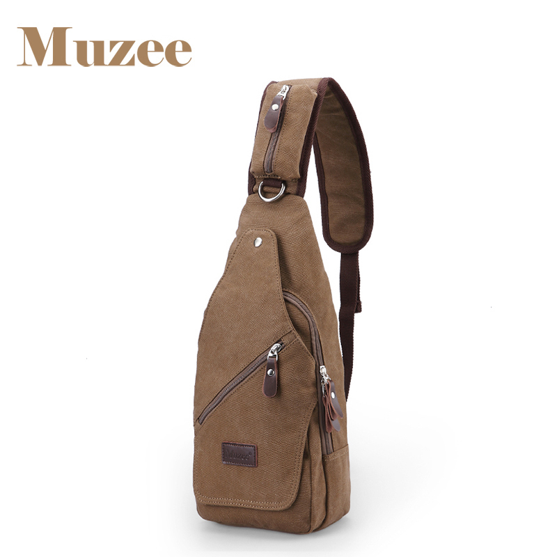 Muzee 2017 New Large capacity canvas men Chest Pack Cross body Sling men's Single Shoulder Bag casual canvas satchel men sling bag