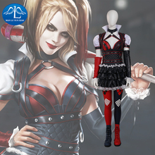 2016 NEW ARRIVAL Women's Batman Arkham Knight Harley Quinn Cosplay Costume Deluxe Outfit Halloween Costumes for Women