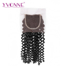 YVONNE Malaysian Curly Lace Closure 4×4 Free Part Virgin Human Hair Closure Natural Color Free Shipping