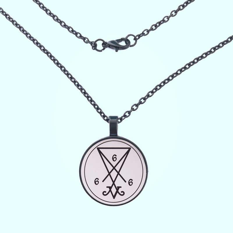 GDRGYB สแตนเลสซาตาน Sigil of Lucifer Baphomet Lilith Pentagram จี้สร้อยคอ Satanism เครื่องประดับรอบแก้ว Chain