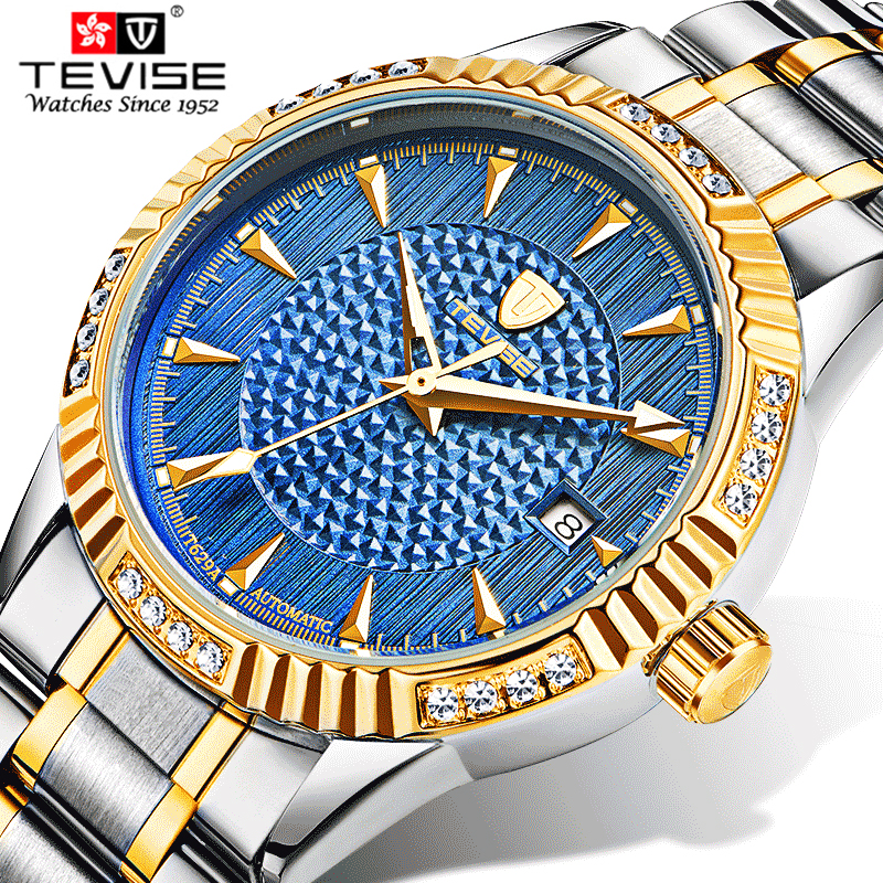 купить Tevise Brand Automatic Mechanical Watches Stainless Steel Band Wristwatches Men Luxury Diamonds Waterproof Calendar watch Gift онлайн