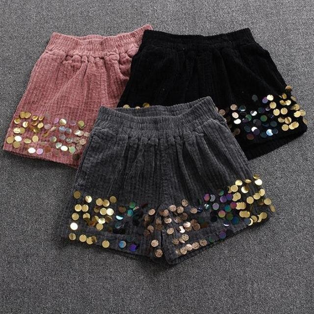 Invierno de las mujeres Pantalones Cortos de Cintura Alta de Pana Pantalones Cortos de Lentejuelas