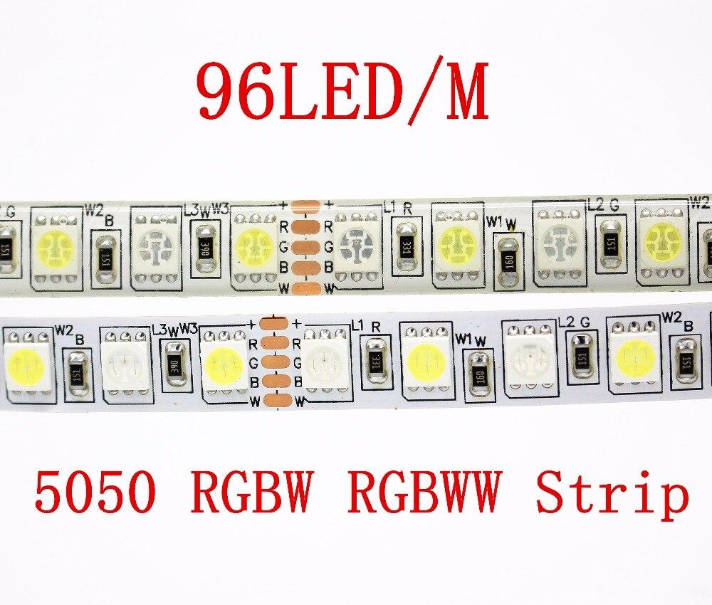 5M 480LEDs 96LED/m 5050 SMD RGBW RGBWW LED Strip light Tape Ribbon DC12V RGB+White or RGB + Warm white For Indoor lighting