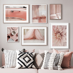 Pink Dress Flower Plate Desert Car Abstract Nordic Posters And Prints Wall Art Canvas Painting Decor Pictures For Living Room