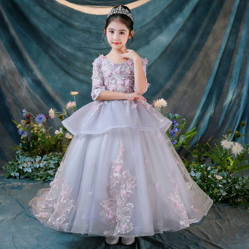 Ball Gown Holy Communion Dress Long Trailing Flower Girl Dress for Wedding Half Sleeve Appliques Lace Princess Gowns Birthday