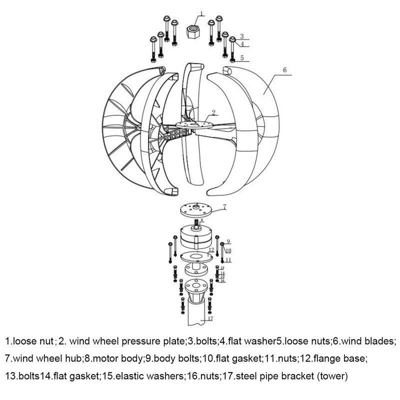 Max 600w Ac 12v 24v Wind Turbine Generator Lantern 5 Blades Motor