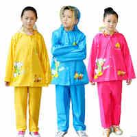 Child Odorless Eco Friendly Nylon Silk Rain Suit Large Hat Student Split Raincoat Rain Pants Sets