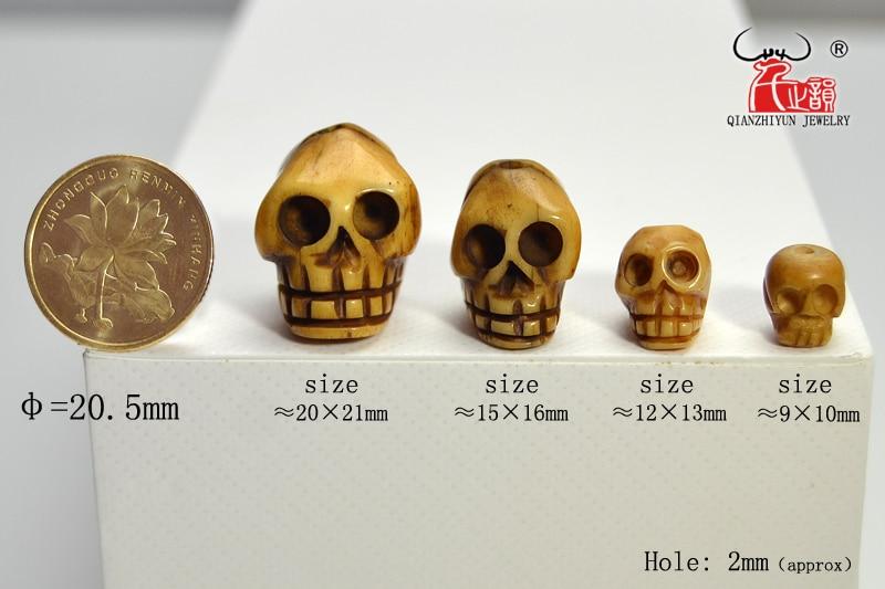 El yapımı Oyma Yak Kemik Boncuk, Kafatası Antik Boncuk Cadılar - Kostüm mücevherat - Fotoğraf 6