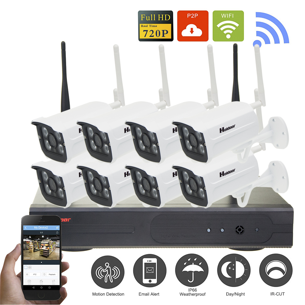 720P Wireless CCTV System 8ch HD wi-fi NVR kit Outdoor IR Night Vision IP Wifi Camera Security System Surveillance Plug and Play plug and play 8ch wireless nvr h 264 video surveillance kit 720p hd outdoor vandal proof ir dome wifi cctv camera system 2tb hdd