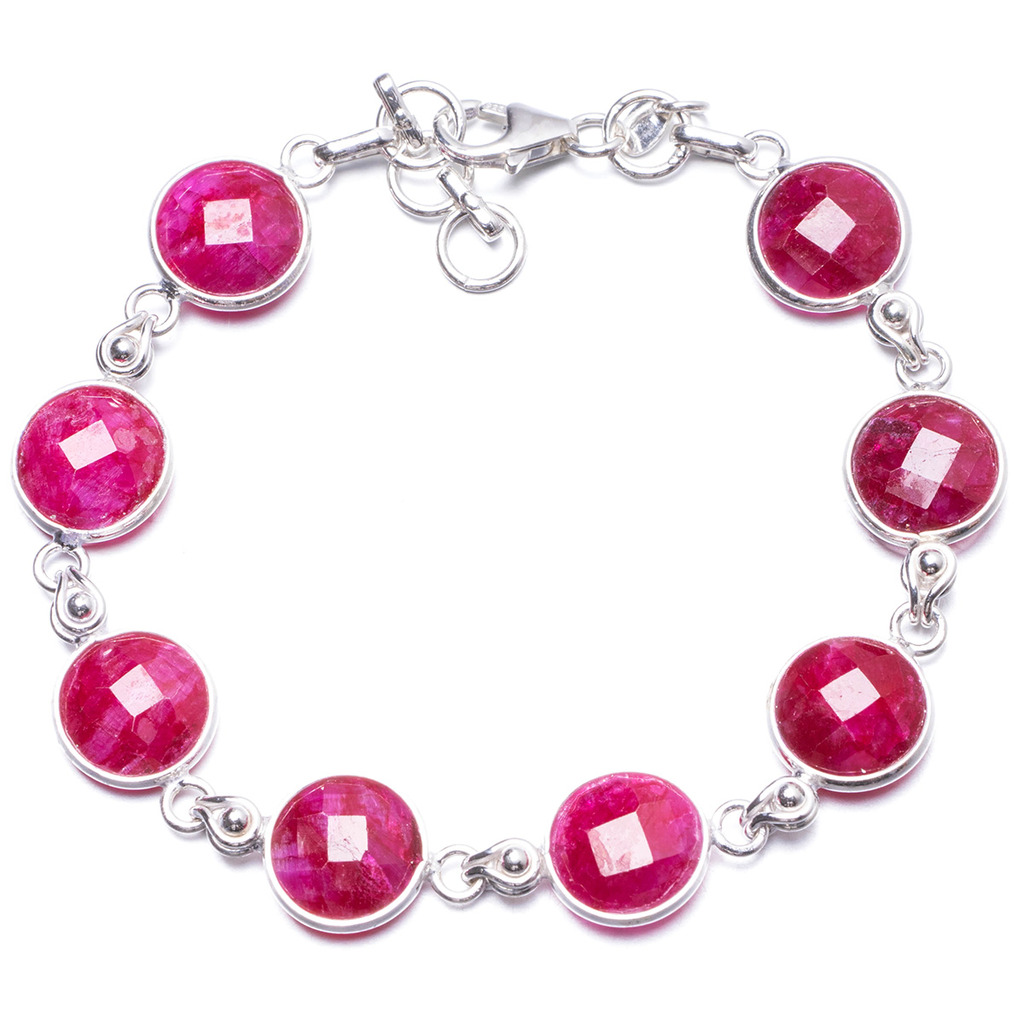 Natural Cherry Ruby Handmade Unique 925 Sterling Silver Bracelet  7 1/4-7 3/4 Y1953