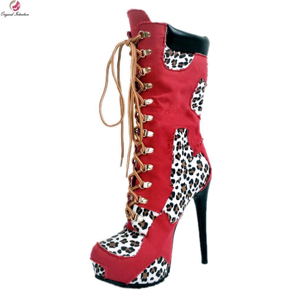 Original Intention Stylish Women Mid-Calf Boots Platform Round Toe Thin High Heels Boots Blue Red Shoes Woman Plus US Size 4-15 bekker bk 9223 3