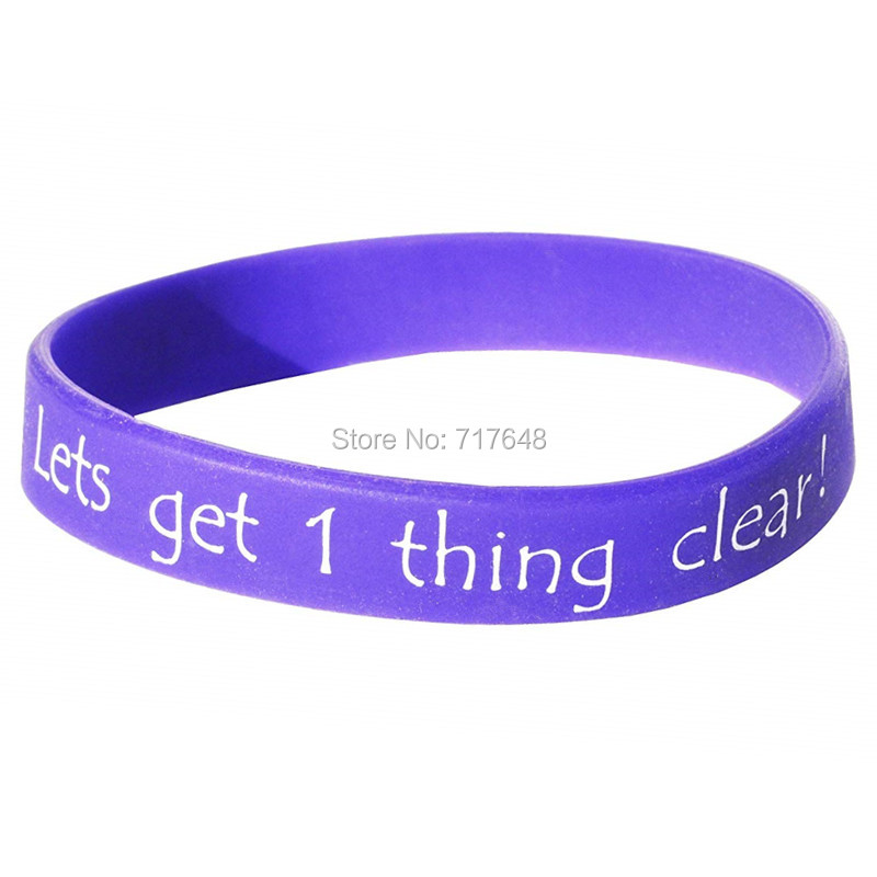 HANJUNSHSY 100pcs Lets Get One Thing Clear Purple wristband