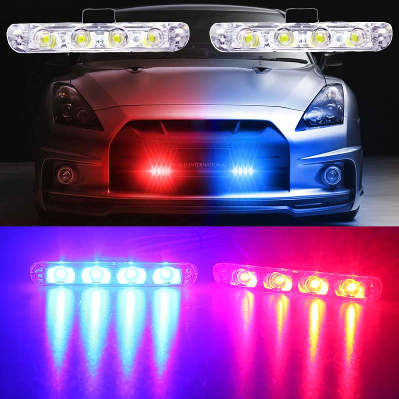 High Quality 2x4/led Strobe Warning wire light DC 12V Car Truck Light Flashing Firemen Lights Ambulance Police lights цена и фото