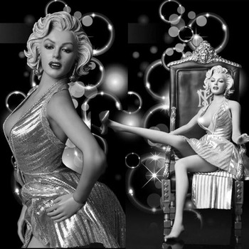 "1/6 Scale Sexy Lady Girl Female Goddess Marilyn Monroe Head & Dress Suit & Shoes F 12"" Largest Breast Collectible Action Figure"