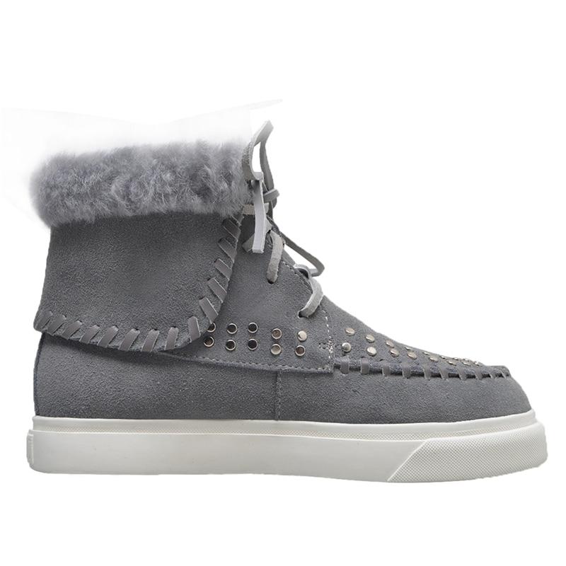 Oveja Remaches Zapatos Nieve Botas Plataforma Stylesowner Mujeres gris Genuino Cálida Lana Gamuza Cuero Flufft Negro marrón De Invierno Para qOOtfCFw