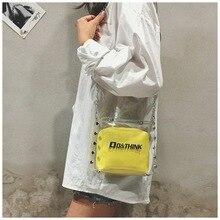 PVU Chain Transparent Jelly Academic style pure color simple single shoulder slanting fashion lady new large capacity bag недорого