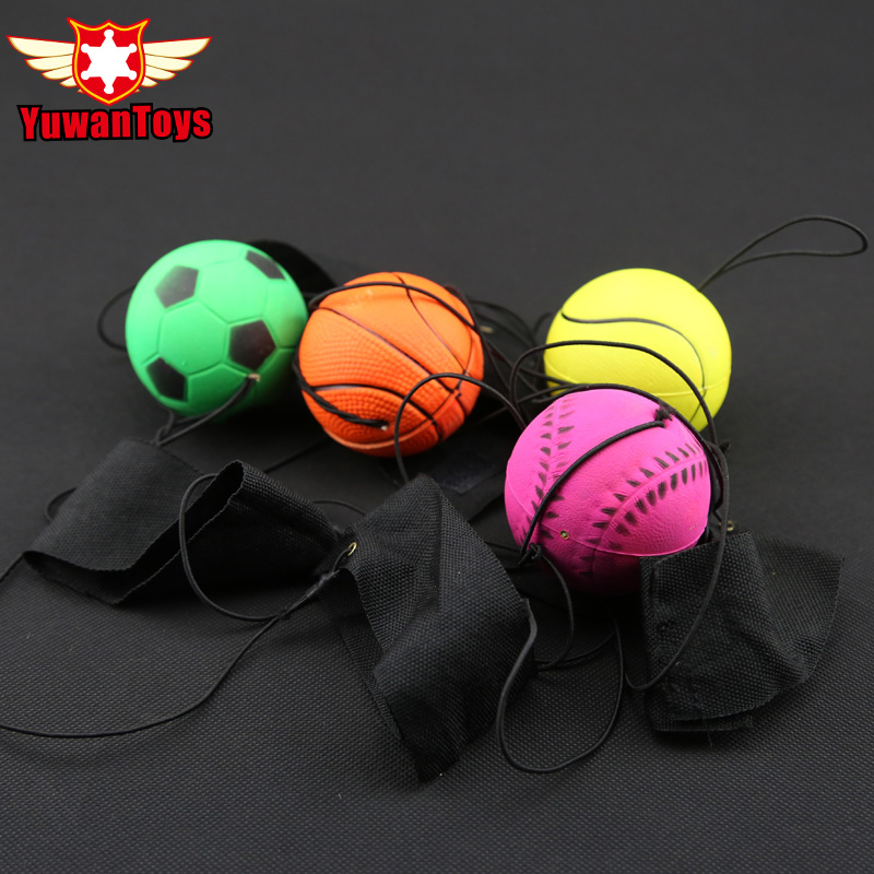 Fun 63mm Fidget Autism ADHD Bouncy Fluorescent Rubber Ball Band pergelangan tangan Papan Permainan Ball Lucu elastik Ball Training Antistress EDC